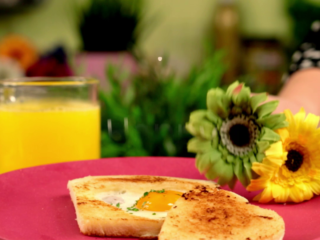 Heart-Shaped Eggs and Toast -