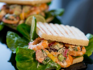 Grilled Shrimp Salad on Toast -