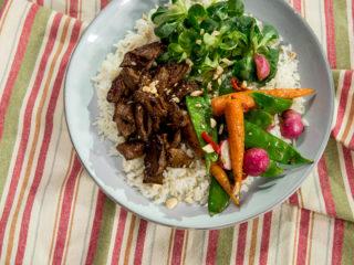 Glazed Beef Tenderloin with Veggies and Rice -