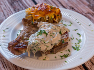 Grilled Pork Chops and Hasselback Potatoes -