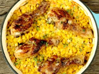 Butter Chicken Drumsticks and Sweet Corn -