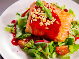 Pan-Fried Salmon with Red Currant Sauce -