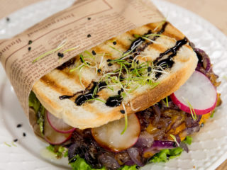 Caramelized Onion and Beef Patty Sandwich -