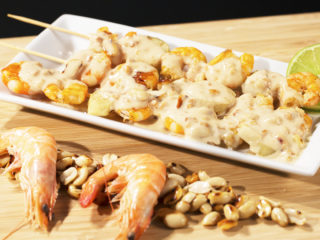 Shrimp Skewers with Peanut Butter Sauce -