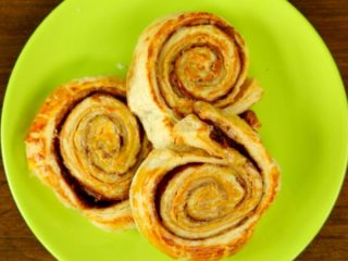 Peanut Butter and Chocolate Puff Pastry Swirls -