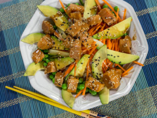Salmon Poke with Cucumber and Carrot -