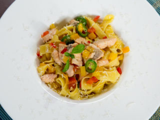 Pappardelle with Salmon and Wine Sauce -