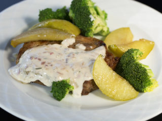 Pork Neck with Caramelized Apples and White Sauce -
