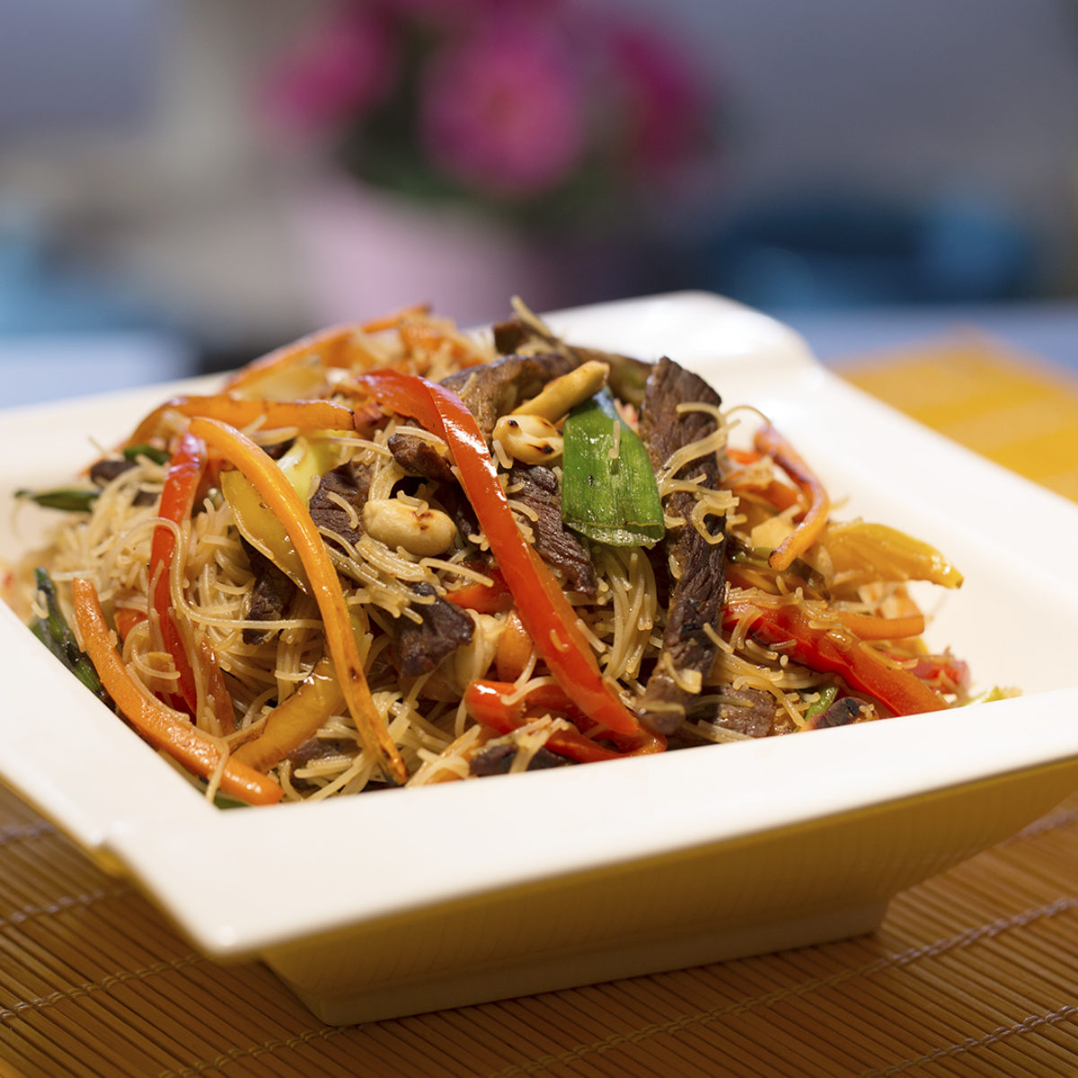 Beef Veggie And Rice Noodle Stir Fry