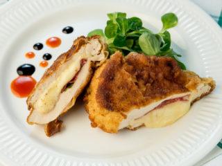 Salami and Cheese Stuffed Chicken Schnitzel -