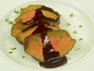 Beef Tenderloin with Chocolate Chili Sauce -