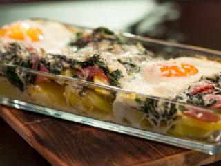 Potato, Salami and Spinach Casserole -