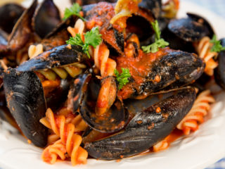 Fusilli with Mussels and Tomato Sauce -
