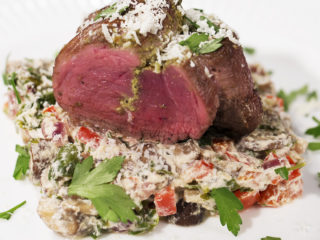 Pesto-Stuffed Beef with Creamy Mushrooms -