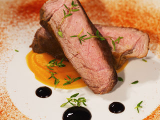 Butter Steak with Carrot and Parsnip Puree -