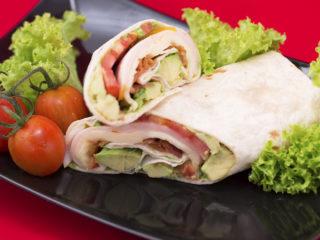 Turkey Ham, Bacon and Avocado Tortilla Wrap -