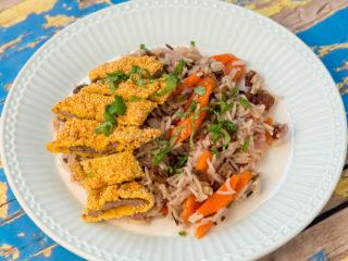 Cornmeal Crusted Beef Tenderloin with Basmati Rice -