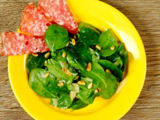 Toasted Pine Nut and Spinach Salad -