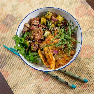 Kimchi and Tuna Poke Bowl -