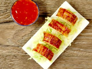 Bacon Weave Egg Roll -