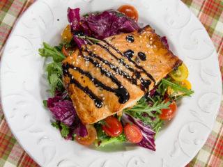 Roasted Salmon with Arugula Salad -