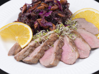 Fried Duck Breast with Sweet Braised Cabbage -