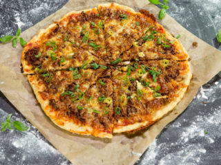 Ground Beef and Mozzarella Pizza -