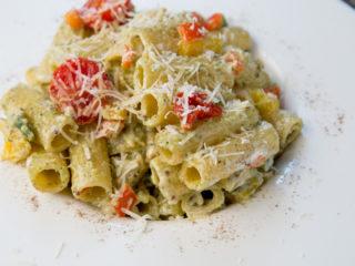 Pesto and Veggie Tortiglioni -
