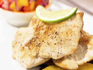Chicken Breast with Caramelized Peach and Veggie Salsa -