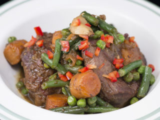 Lamb Stew with Green Beans and Peas -