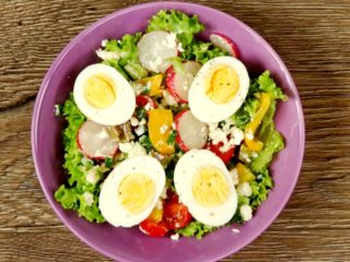 Spring Salad with Cheese and Eggs -