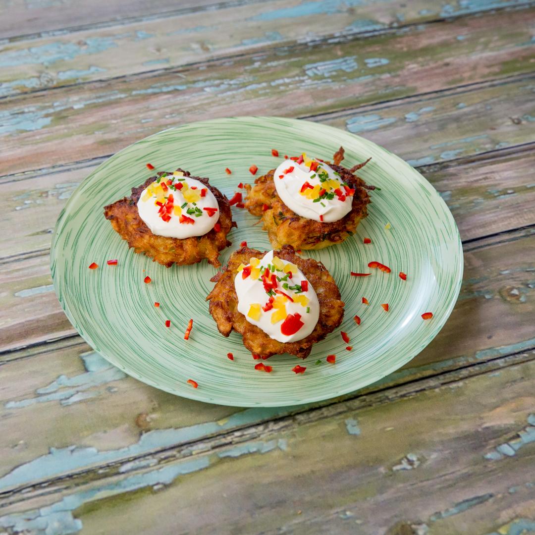 Sour Cream-Garnished Potato Patties -