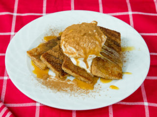 Ice Cream and Caramel Topped French Toast -