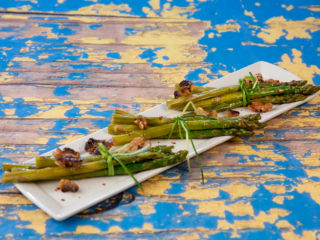 Roasted Asparagus with Butter-Fried Walnuts -
