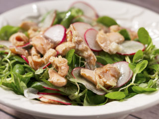 Poached Salmon with Valerian and Radish Salad -