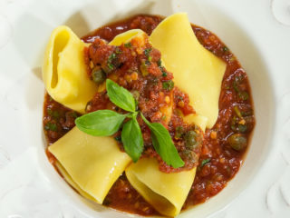 Paccheri Pasta with Capers and Tomato Sauce -