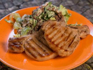Grilled Pork Chops and Mushroom Salad -