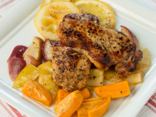 Roasted Pork Chops with Apple and Sweet Potatoes -