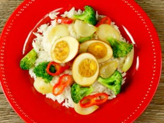Soy Sauce Eggs with Vegetables -