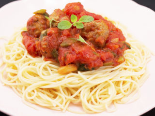 Sausage Meatballs with Spaghetti -