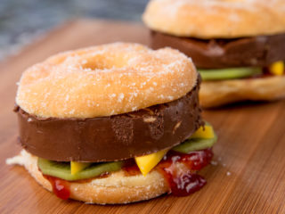 Sweet Donut Burger with Nutella Patty -
