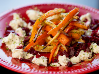 Roasted Carrots and Parsnips with Cheese Dip -