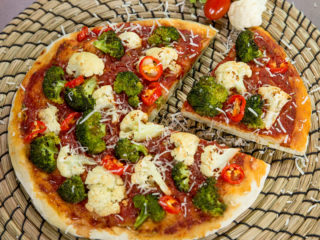 Broccoli and Cauliflower Pizza -