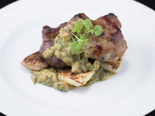Roasted Pork Neck with Milky Croutons and Caper Sauce -