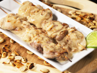 Chicken Skewers with Peanut Butter Sauce -