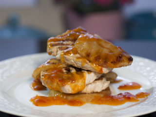 Grilled Pork Tenderloin with Pineapple and Spicy Sauce -