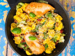 One-Skillet Fried Chicken and Garlic Tortellini -