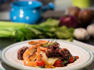 Warm Bok Choy and Seafood Salad -