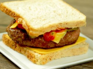 Fried Burger Patty and Cheese Sandwich -