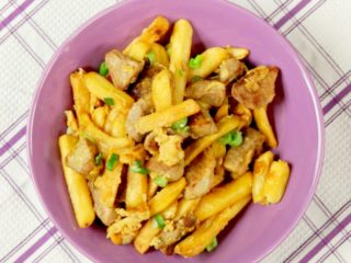 Caramelized Pork with Scrambled Eggs and French Fries -